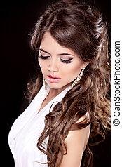 fascino, moda, donna, portrait., makeup., bello, brunetta, con, lungo, hair.