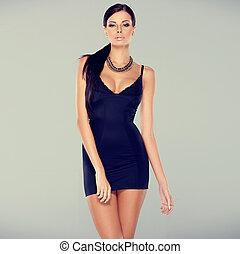 fascino, sexy, vestire, donna, adorabile