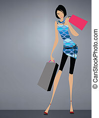 fascino, standing, ragazza, shopping