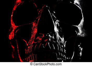 fascino, testa, cranio, neon, concept., light., stile, horror., sfondo scuro, halloween, celebrazione, paura, rosso, lucente