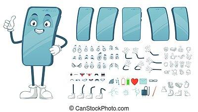 fascio, vettore, divertente, gambe, smartphones, mascot., braccia, cartone animato, mobile, faccia, telefono, illustrazione, smartphone, schermo, carattere