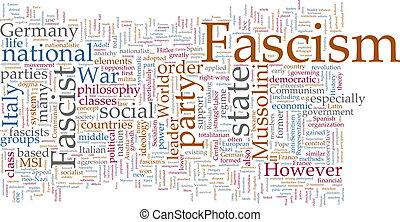 fascisme, mot, nuage