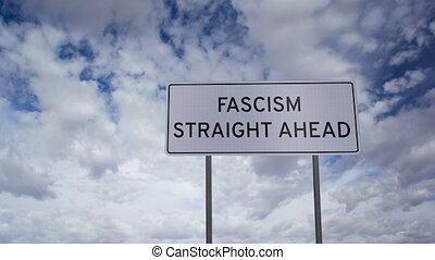 fascisme, signe, nuages, timlapse
