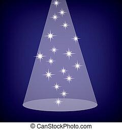 fase, eps10, azul, estrelas, holofote