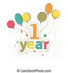 fase, gelukkige verjaardag, met, ballons
