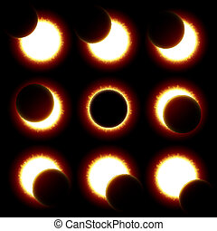 fasen, eclips, zonne
