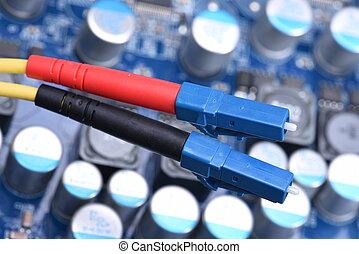 faser, optisch, vernetzung, kabel, nahaufnahme