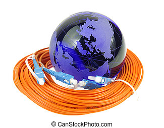 faser, optisch, vernetzung, kabel