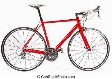 faser, radfahren, concept., freigestellt, fahrrad, hintergrund, professionell, kohlenstoff, weißes, aus, straße