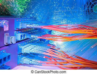 faser, zentrieren, optisch, daten, server, kabel