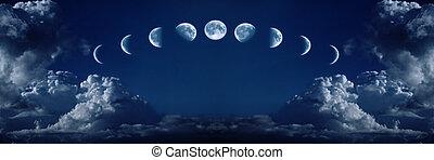 faserna, fullmåne, tillväxt, nio, cykel