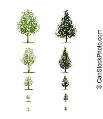 fases, de, crescendo, árvore, para, seu, desenho