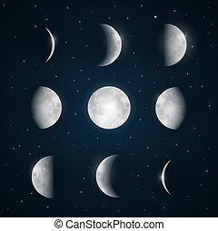 fases lua, -, céu noite, com, estrelas