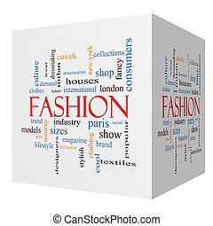 Fashion 3D cube Word Cloud Concept