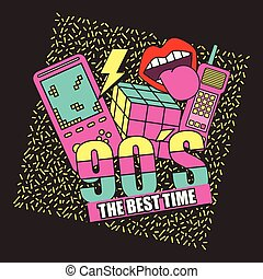 fashion 90s patches retro elements collection vector illustration