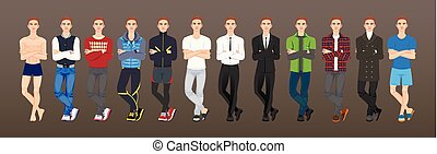 fashion A set of guy character in a modern outfit. Vector illustration