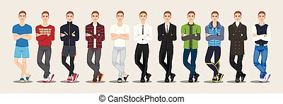 fashion A set of guy character. Vector illustration