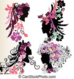 Fashion abstract female face silhou - Set of vector abstract...