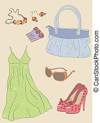 fashion accessories - vector hand drawn fashion woman...