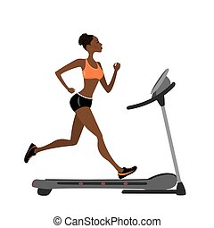 fashion african american girl running on a treadmill