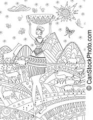 fashion african girl in mountain landscape for your coloring boo