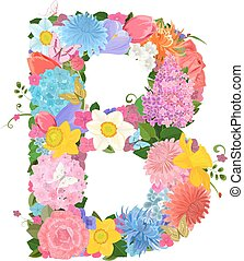 Fashion alphabet from lovely flowers of daffodils, roses, ...