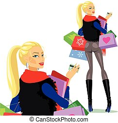 Fashion and Beauty collection. Women with shopping bags