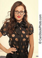 Fashion and beauty. Sexy businesswoman. Pretty school teacher or student. Back to school. Girl with red lips in glasses. Business school coach. Dress code. Confidence and charisma. Ready to study
