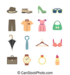 Fashion and clothes accessories icons of pants shirt dress and bra vector illustration