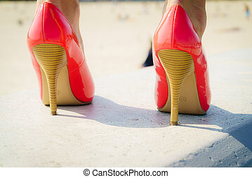 Red high heel classic shoes outdoor