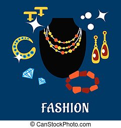 Fashion and jewelry flat icons