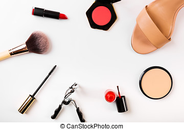 fashion and makeup accessories with copy space on white
