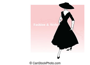 stylish lady in a black dress and a hat on a pink background