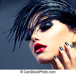 Fashion Art Girl Portrait. Punk Style