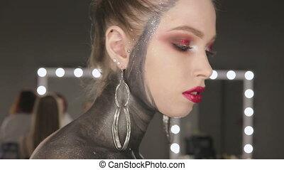 Fashion Art Portrait Of Beautiful Girl. Vogue Style Woman....
