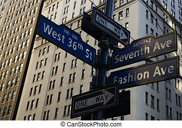 Corner of Fashion and West 36th street in Manhattan, New York city