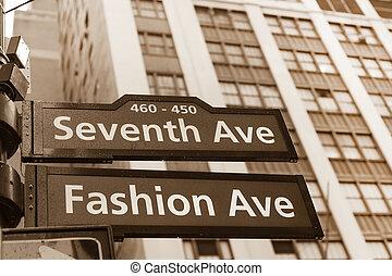 Fashion avenue street sign