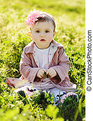 fashion baby in grass