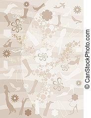 Fashion, bottle and floral background - vector illustration