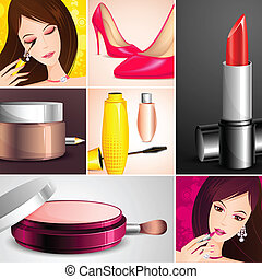 illustration of cosmetic on fashion collage background