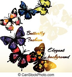 Fashion background with beautiful colorful butterflies for design