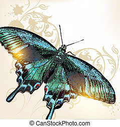Fashion background with butterfly