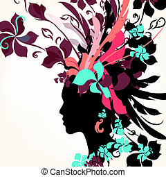 Fashion background with female face and floral hair -...