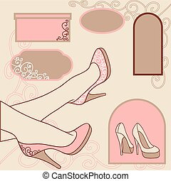 Fashion background with feminine shoe