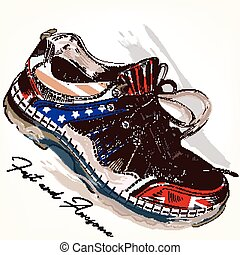 Fashion background with sports boots decorated by USA and British flags