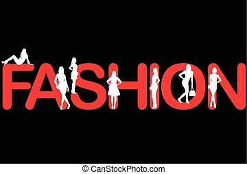 Fashion background with women silhouettes
