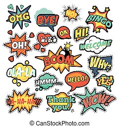 Fashion Badges, Patches, Stickers in Pop Art Comic Speech Bubble