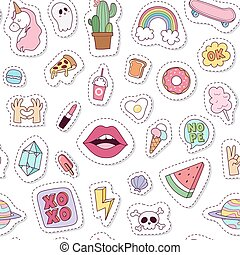 Fashion badges seamless pattern vector illustration. -...