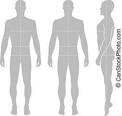 Fashion bald man full length template figure silhouette with...