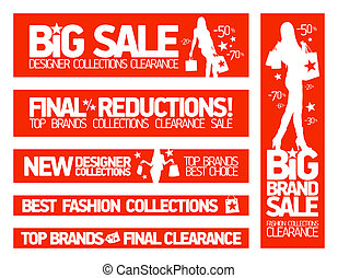 Fashion banners for sale and new clothing collections.